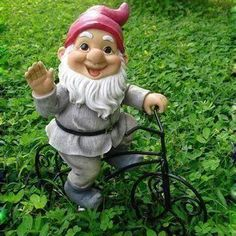 A bicycling gnome