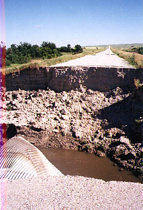 A washed-out road in South Dakota near the Badlands.