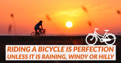 "A person riding their bike into the sunset on a perfect day. ""Riding a bicycle is perfection unless it is raining, windy or hilly."""