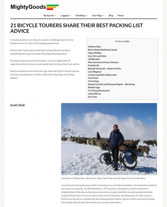 Best packing list advice for bicycle tourers