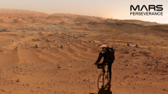 Scott riding his bicycle on Mars. The background is actual Mars, and the photo of Scott is from Tibet.