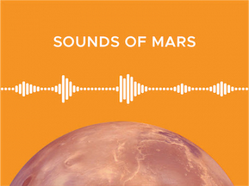 Hear the sounds of Mars. Illustration of Mars and sound waves.