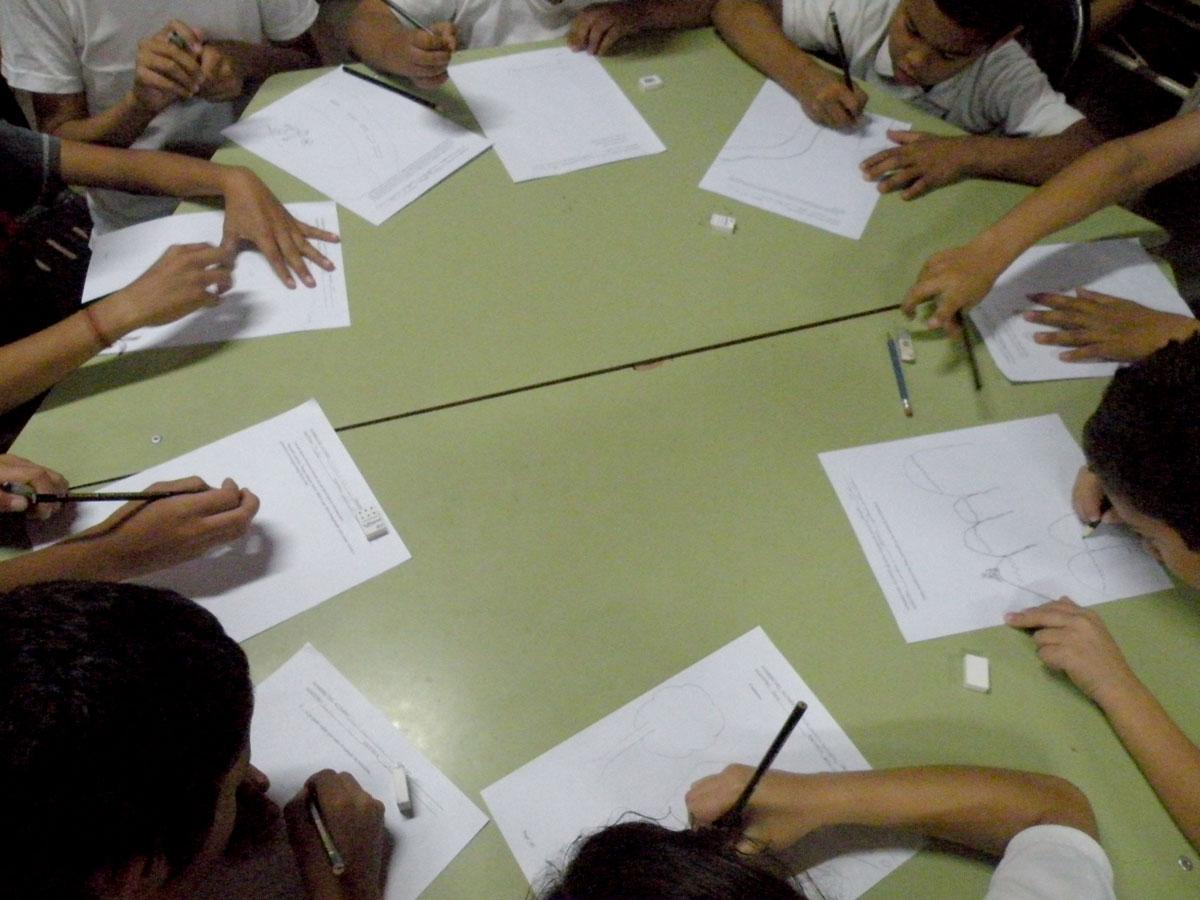 Students illustrating Yebrail Matta school