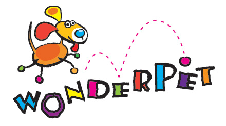 Wonderpet logo. A dog chasing a ball. This lady not only walks your dogs but makes homemade dog food at her doggy daycare.