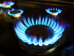 Natural gas stove burning blue.