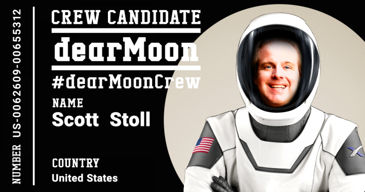 Scott Stoll wearing an astronaut's suit. He is crew candidate for the dearMoon project. #dearmooncrew.