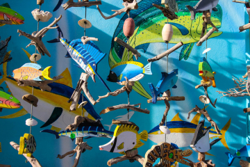 A photograph of cut out fish hanging from ropes. The ropes divide the picture into thirds. A variation of the Law of Thirds.