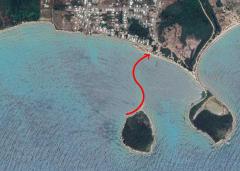 Cayo Real to Vieques island swim. Satellite view.