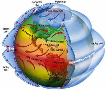 An illustration of the global wind patterns