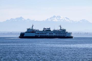 Mukilteo Ferry and Cascade Mountains