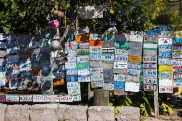 Bahamas license plates mural artwork