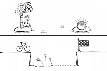 Bridge the gap. An illustration of a bicyclist trying to get over a pit filled, and an illustration of a man stranded on an island trying to get pot of gold.
