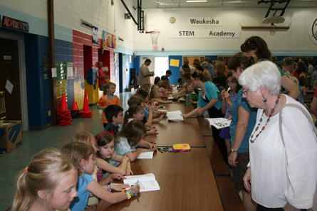 School book signing for Ruby the Red Worm