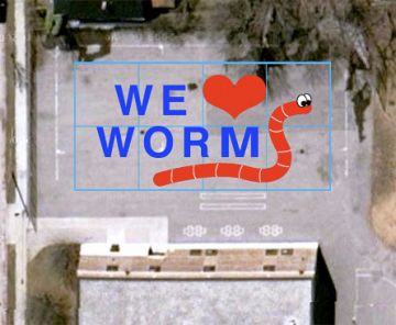 """A satellite view of my message. It could read """"We ♥ worms"""" or """"We heart worms"""" or """"We love worms."""""""