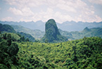A conical limestone mountain,