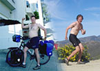 Scott's before and after picture of 4 year bicycle trip