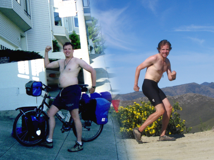 Scott Stoll's before and after picture of his bicycle tour around the world.