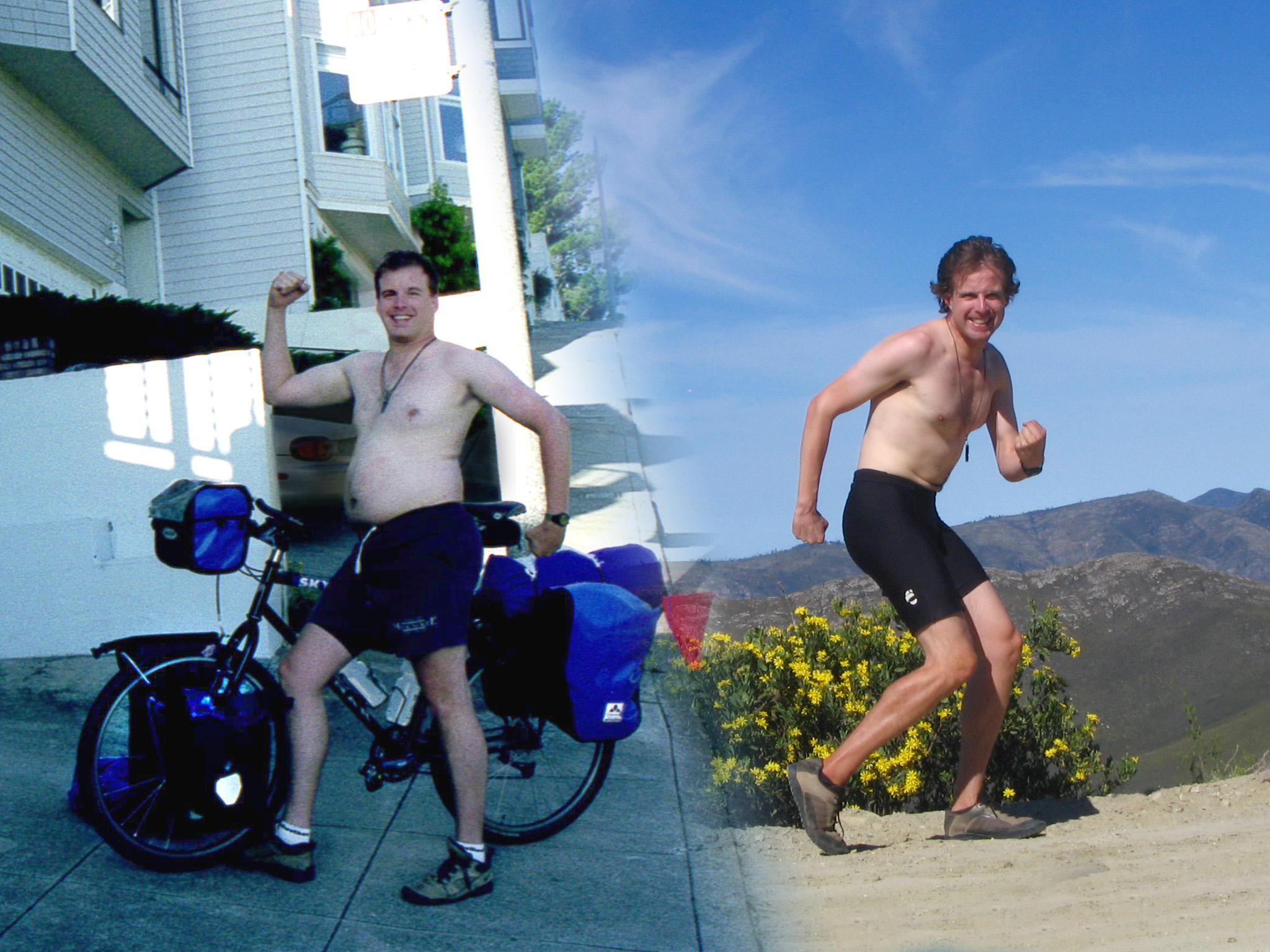 scott stoll before and after picture from bicycling around the world